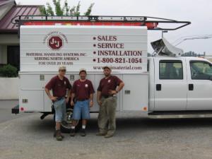 JnJ Material Handling service truck with crew