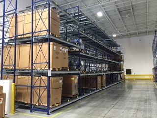 Push back pallet racking.