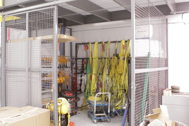 equipment storage below mezzanine
