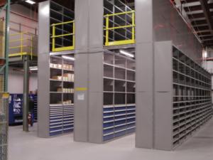 Storage cabinets under mezzanine.