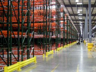 Double reach pallet racks in a warehouse.